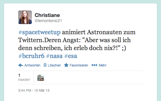 Tweet zur Spacetweetup-Session