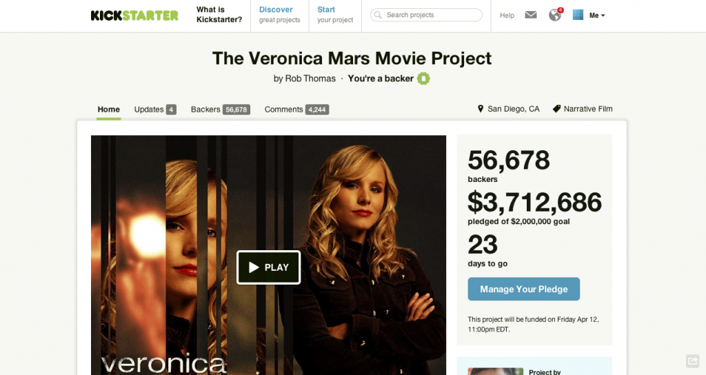 Screenshot Kickstarter Veronica Mars Movie
